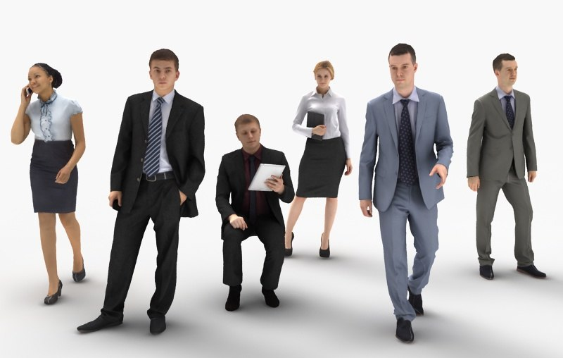 3d human businesses people model