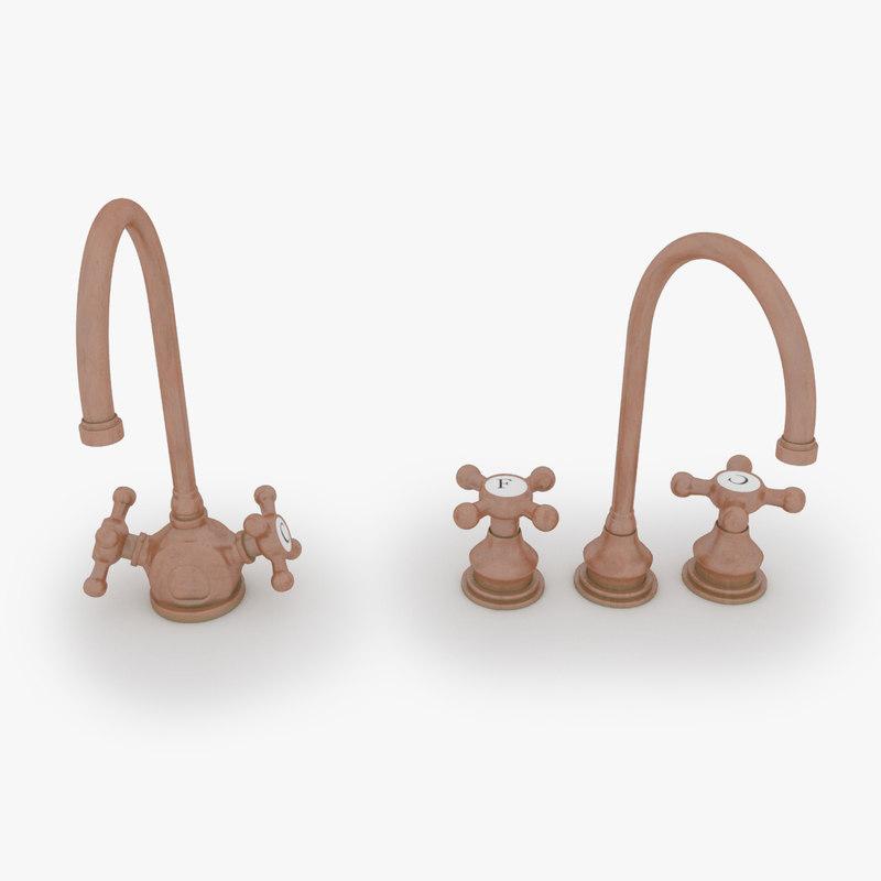 3d model of set copper water taps