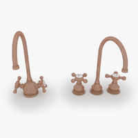3d model of set copper water taps