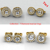 diamond stud earrings 3d model