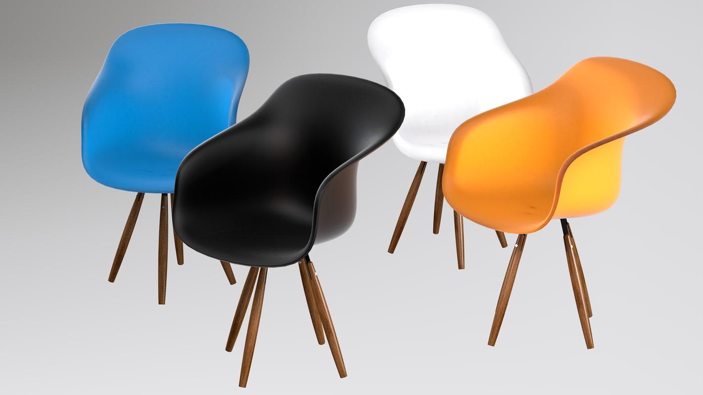 armchair wood legs 3d model
