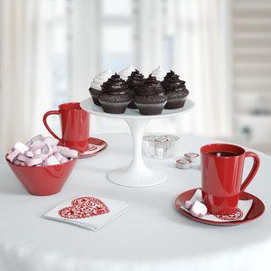 3d set s breakfast model