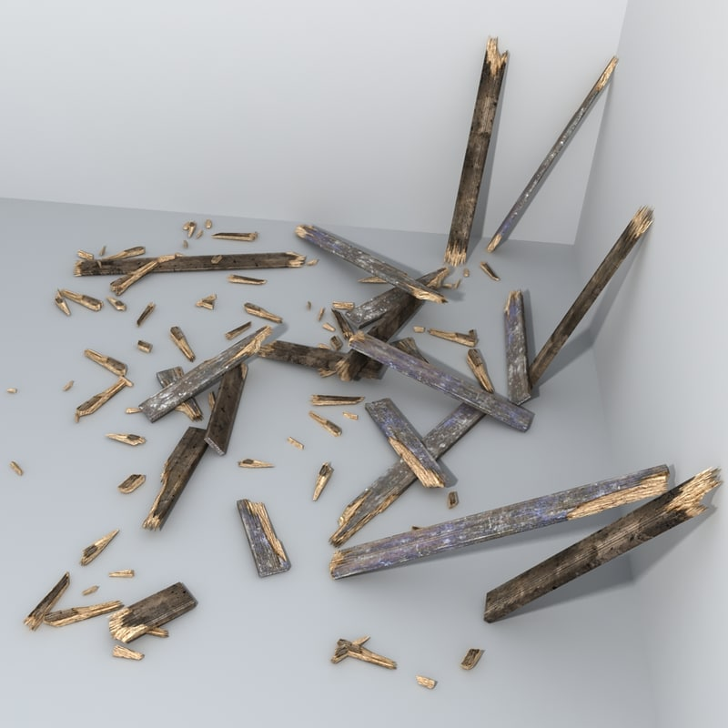 wooden plank debris damaged 3d 3ds