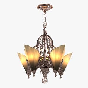 3d art deco chandelier