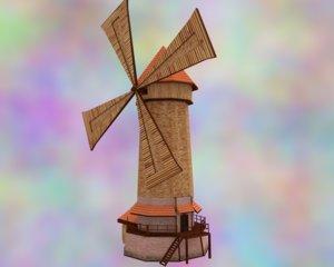 medieval fantasy windmill 3d model