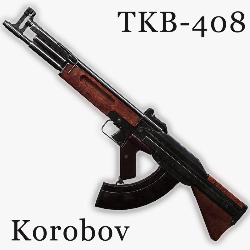tkb-408 assault rifle korobov 3d model