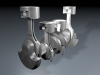 crankshaft conrods pistons 3d model