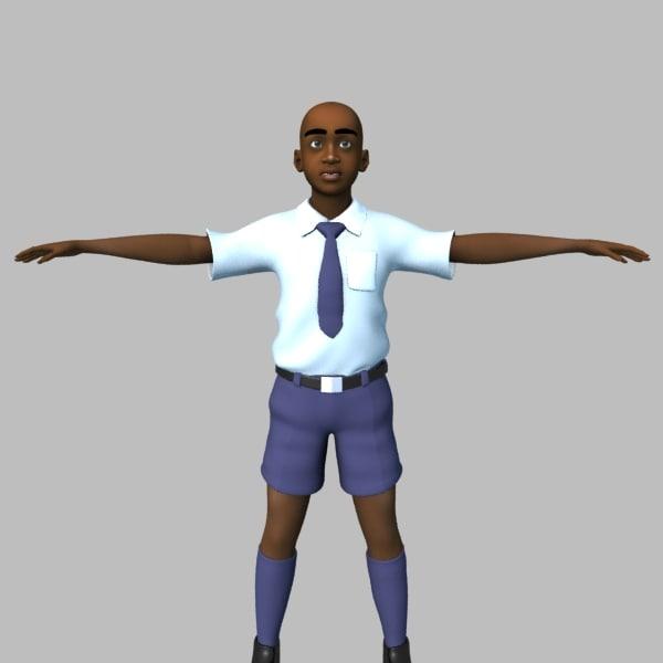 3d model of african school boy