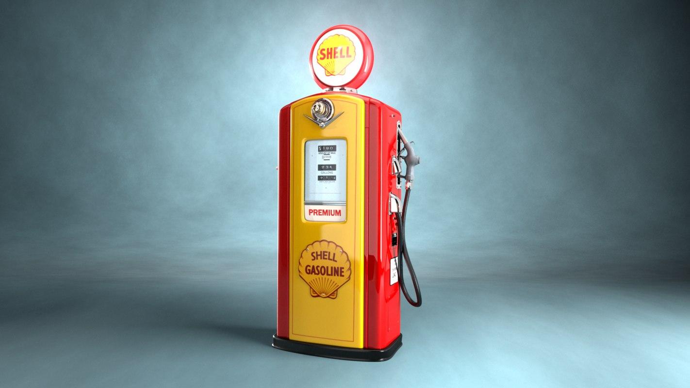 3d model 50 shell fuel pump