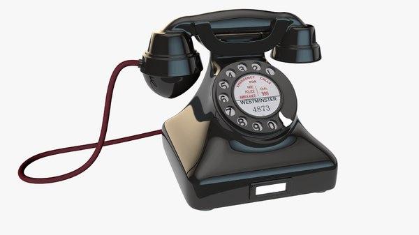 vintage rotary telephone 3d model