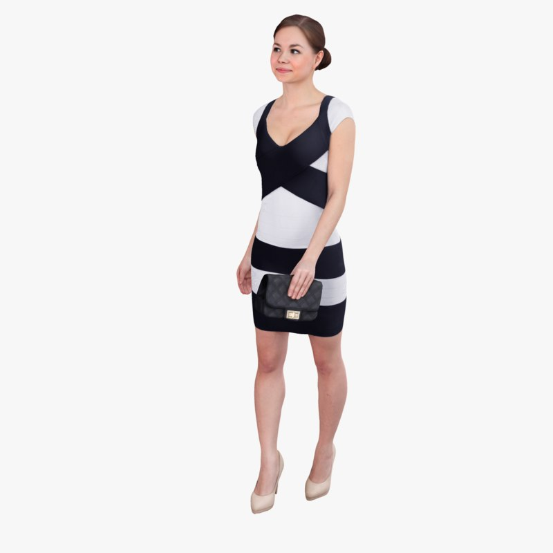 ready-posed woman 3d max