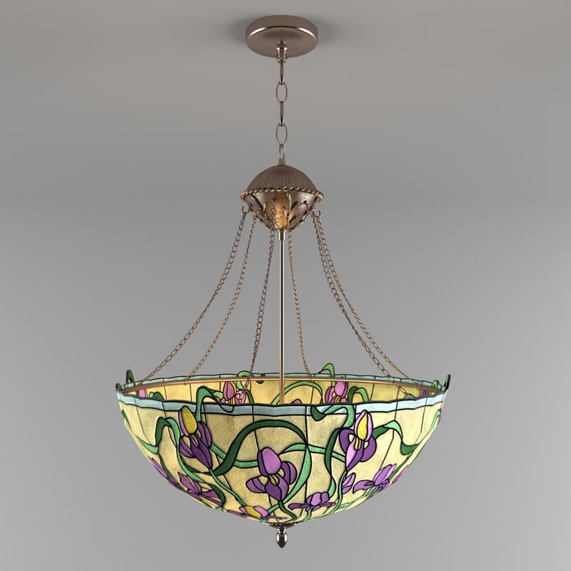 3d tiffany inverted pendant iris model