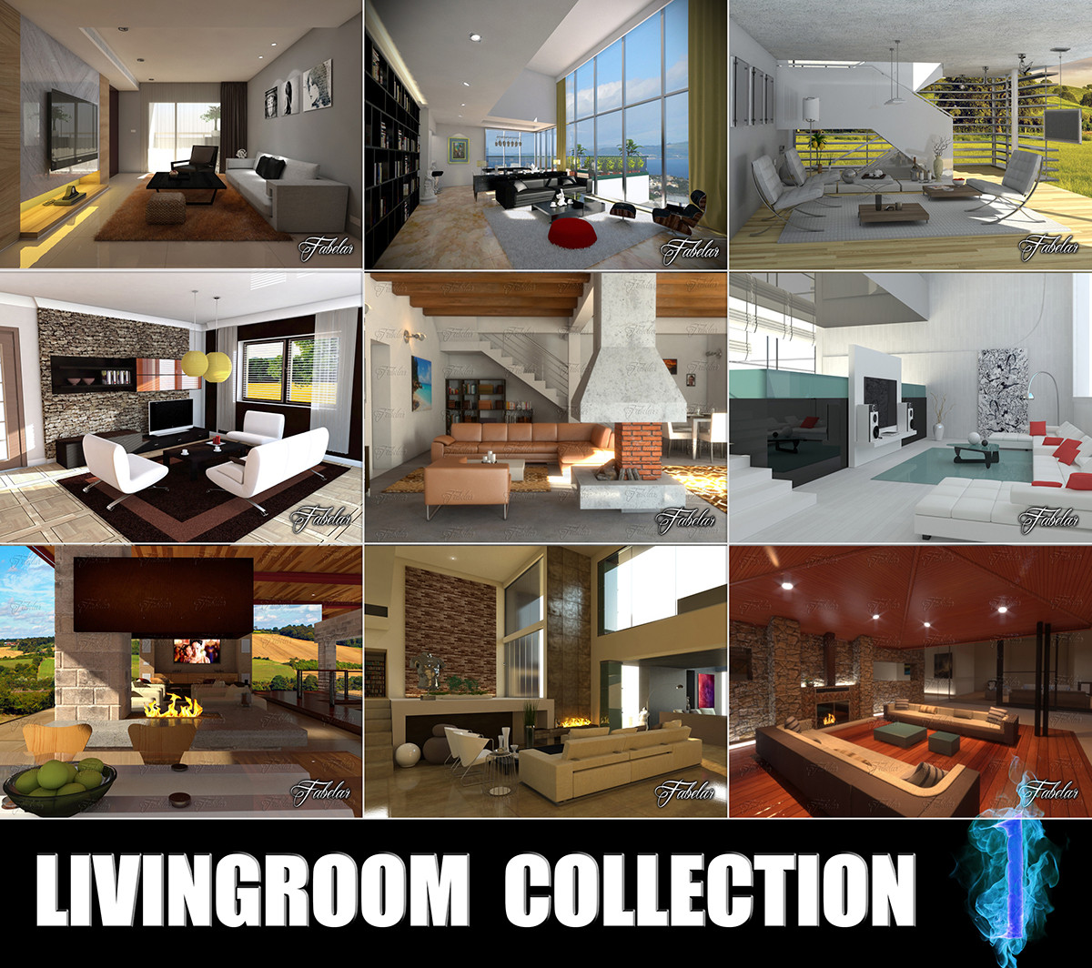 3d model livingrooms scenes