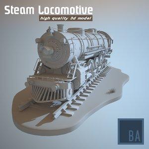 3d steam locomotive train engine
