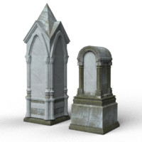 gray tombstones 3d model