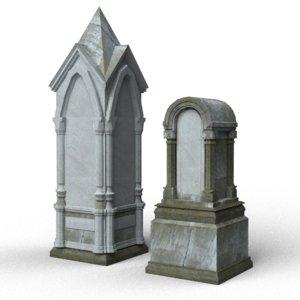 gray tombstones 3d model