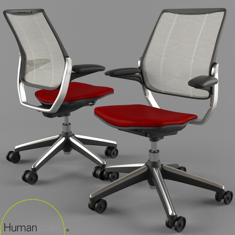 3d office chair humanscale diffrient