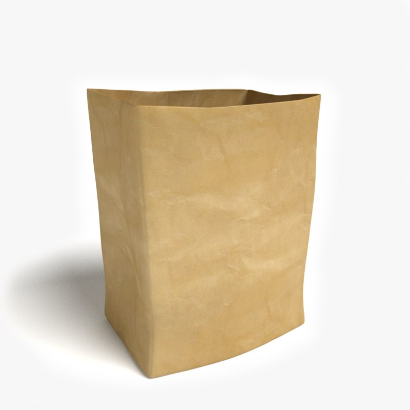 brown grocery bag 3d model