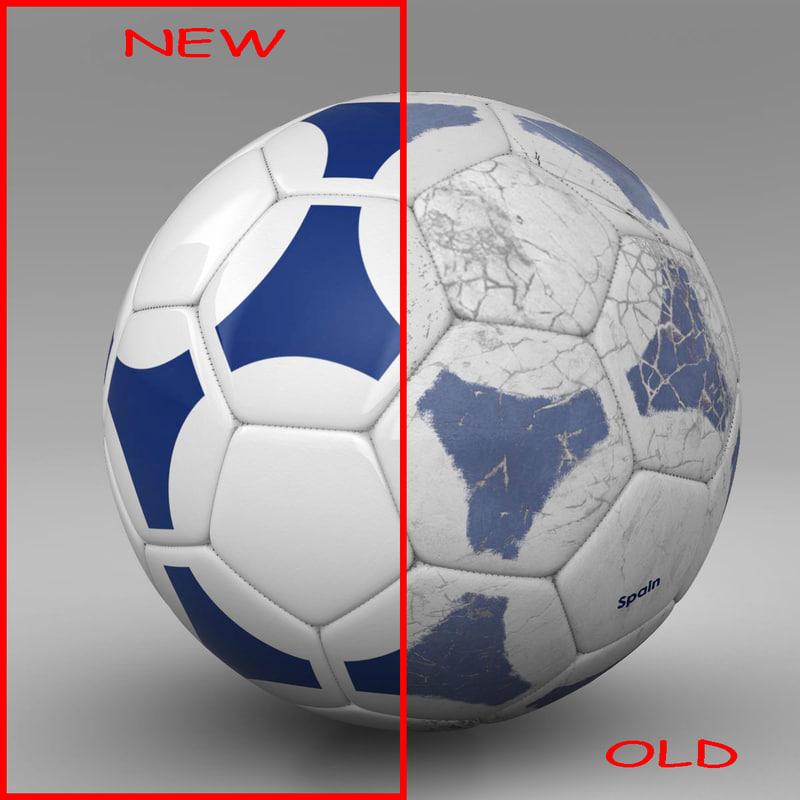 3d model ball soccer blue