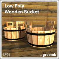 Low Poly Wooden Bucket for GameDev