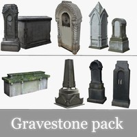 3d obj pack tombstones medieval