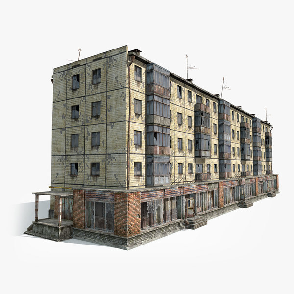 abandoned 5-storey house 3d max