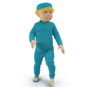 3d model baby rigged