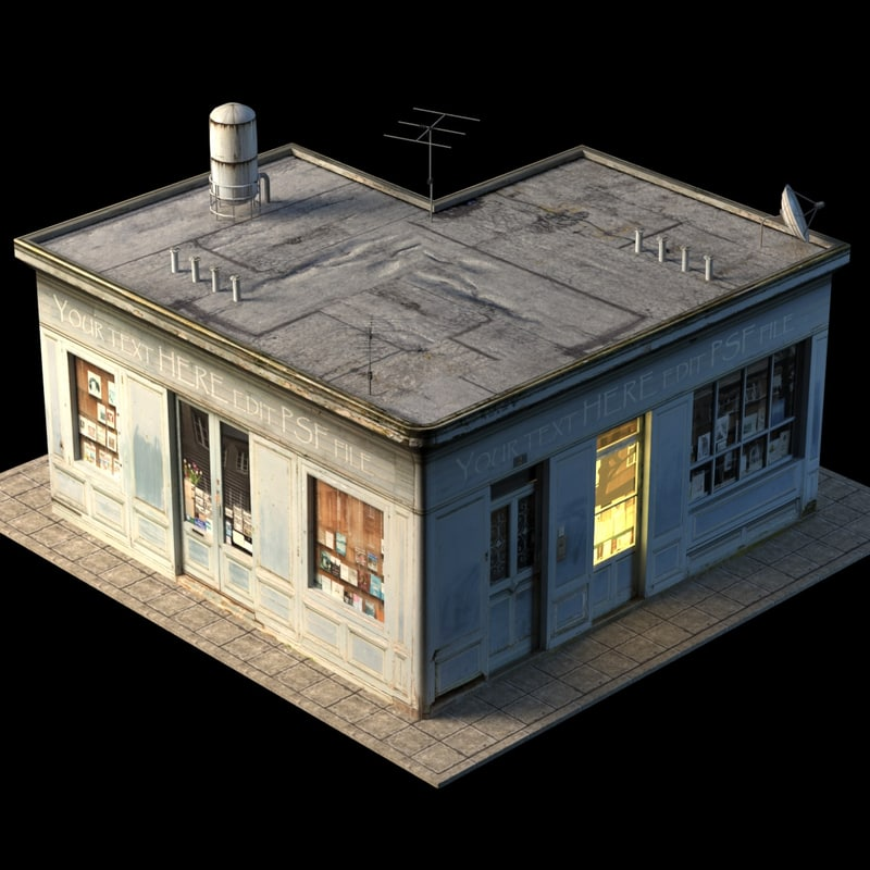 3d model small store building roof
