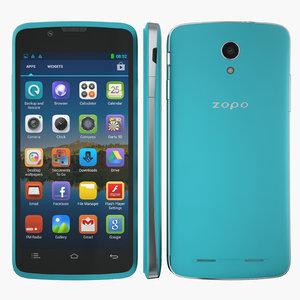 3d smartphone zopo zp590 blue model