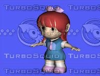 3d model cartoon character girl kid
