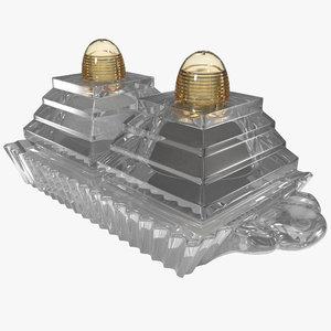 3d cut glass salt pepper model