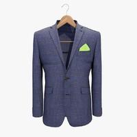 3d model blue jacket 2 coat hanger