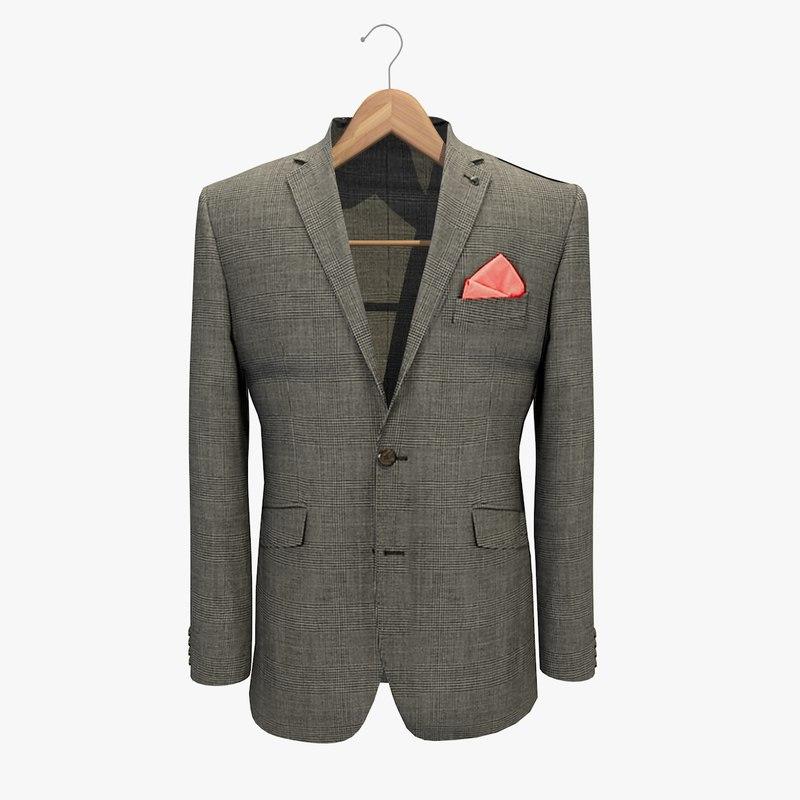 3d model grey jacket 2 coat hanger
