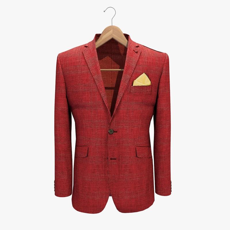 3d model red jacket 2 coat hanger