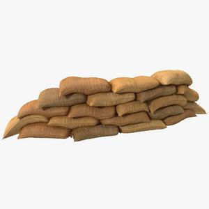 c4d sandbags barricade
