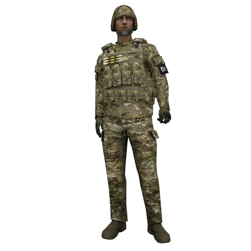 3d rigged soldier