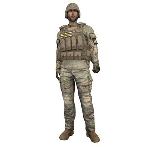 rigged soldier 6 3d model