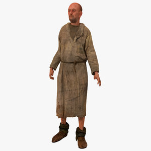 3d peasant rigged model