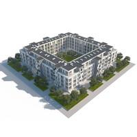 3d building middle model