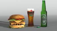 3d heiniken beer model