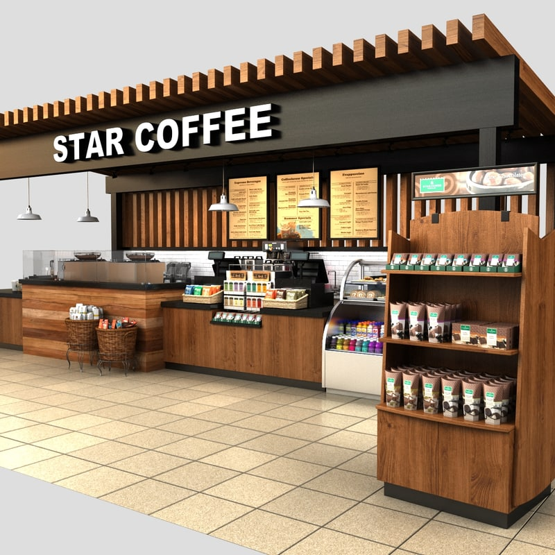 3d model coffee kiosk for Coffee shop design software