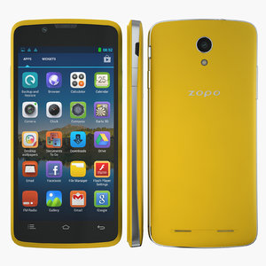 smartphone zopo zp590 yellow 3d model
