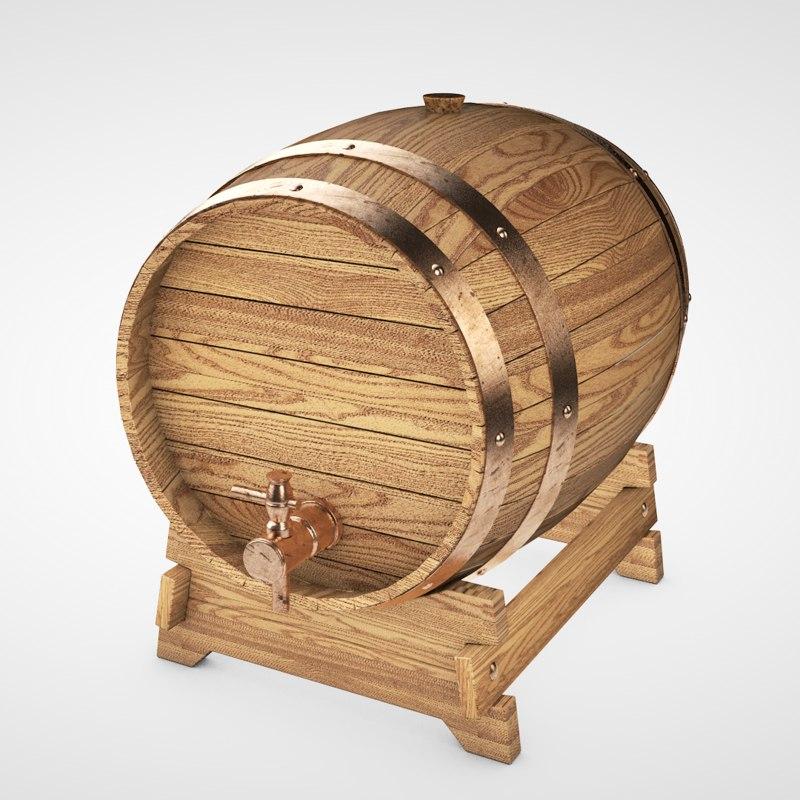 old oak barrel obj