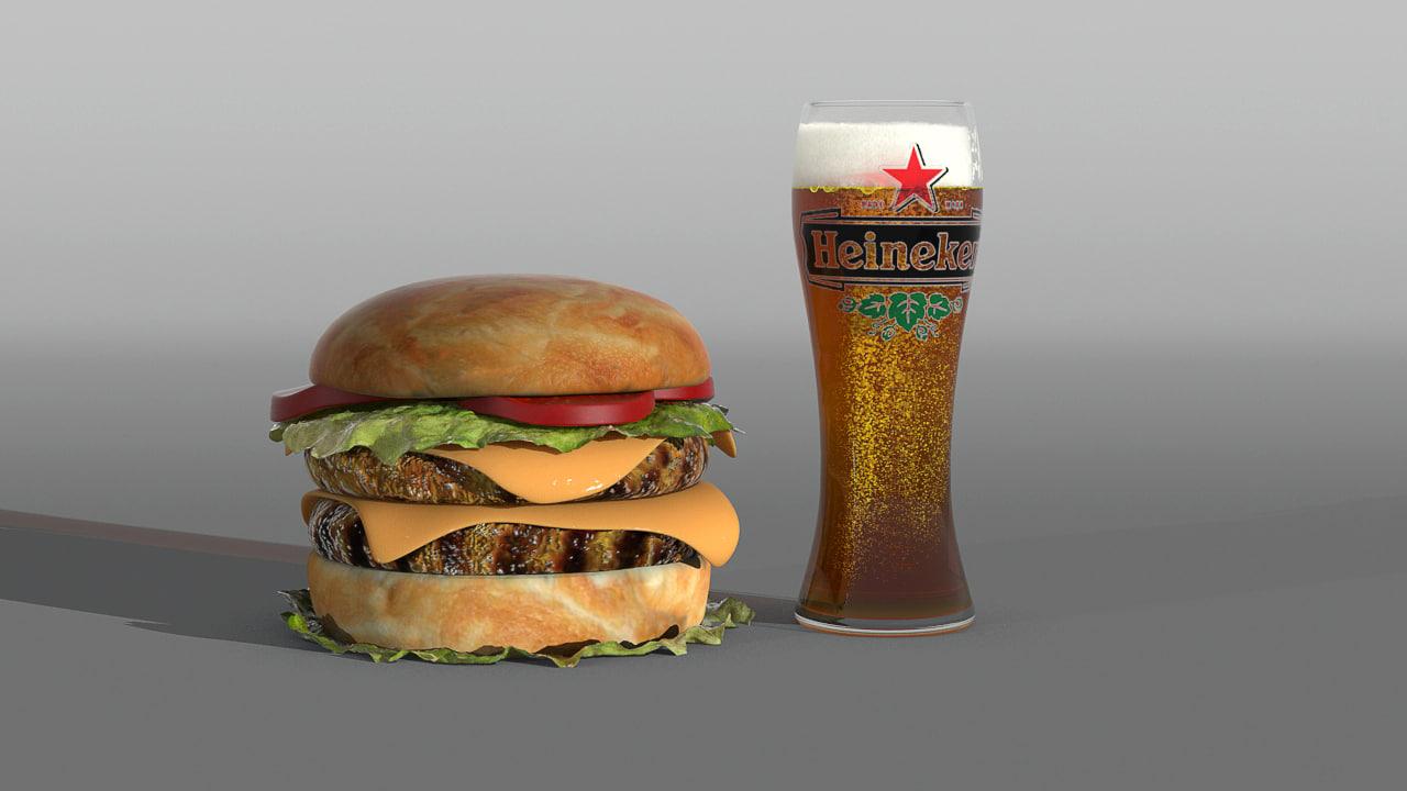 3d model hamburger glass beer