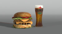 3d model hamburger glass beer
