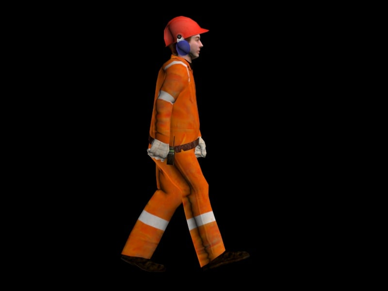 3d model of worker suit animation