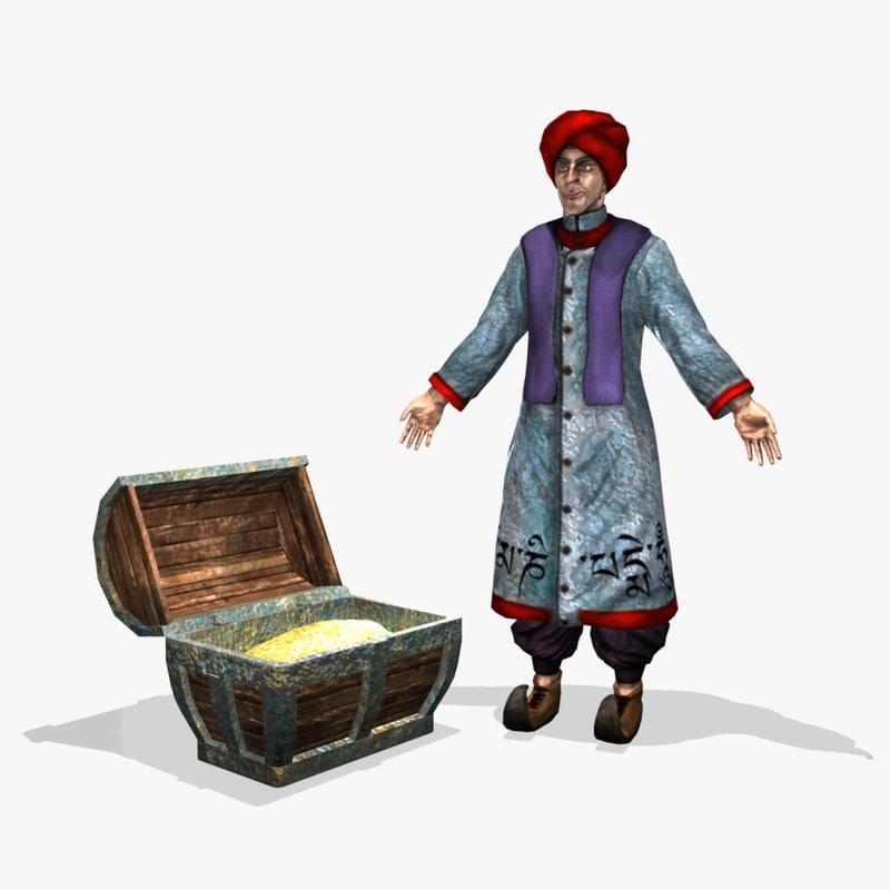 ancient eastern merchant obj