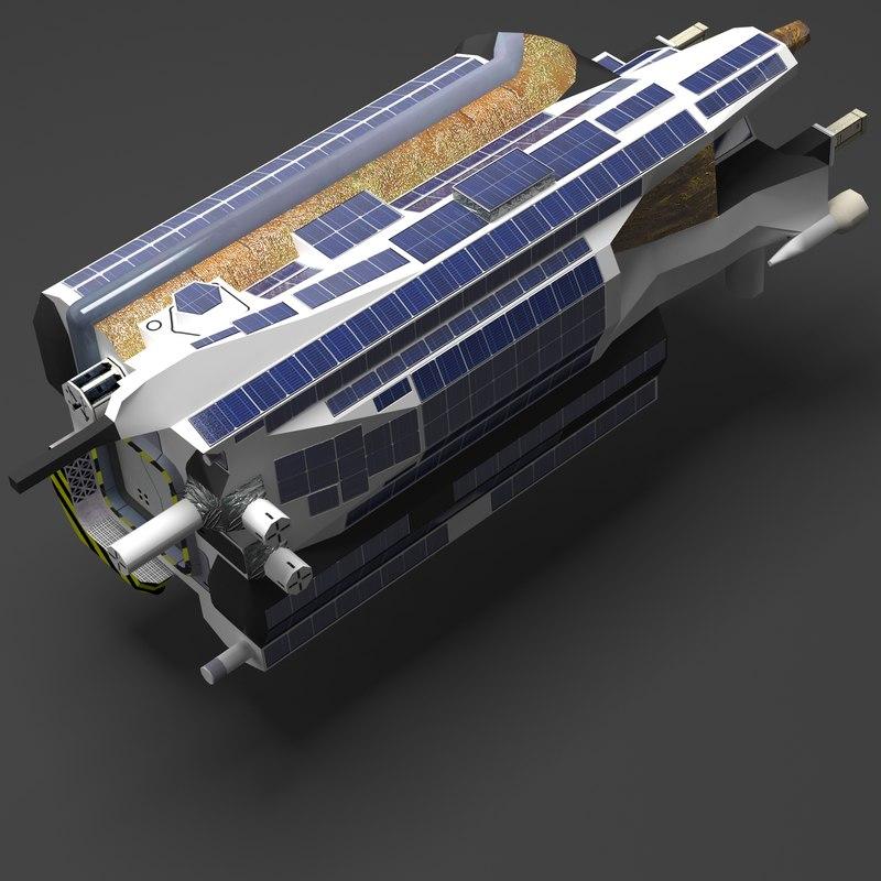 sci-fi space satellite 3d ma