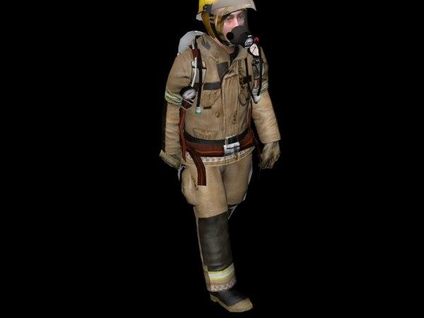 3d fireman man