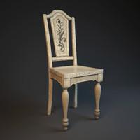 3d model old chair hooker